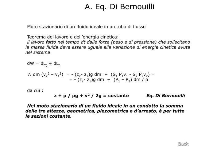 A. Eq. Di Bernouilli