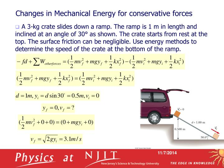 Changes in Mechanical Energy for conservative forces