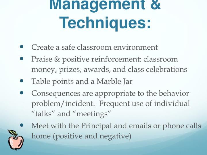 Management & Techniques: