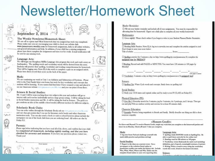 Newsletter/Homework Sheet