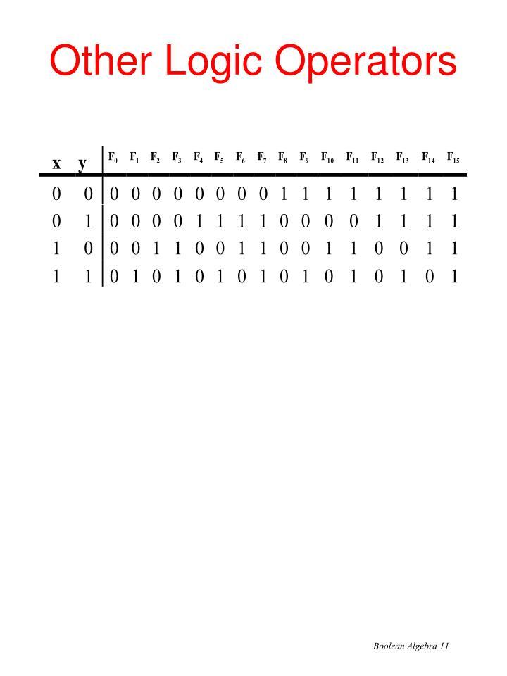 Other Logic Operators