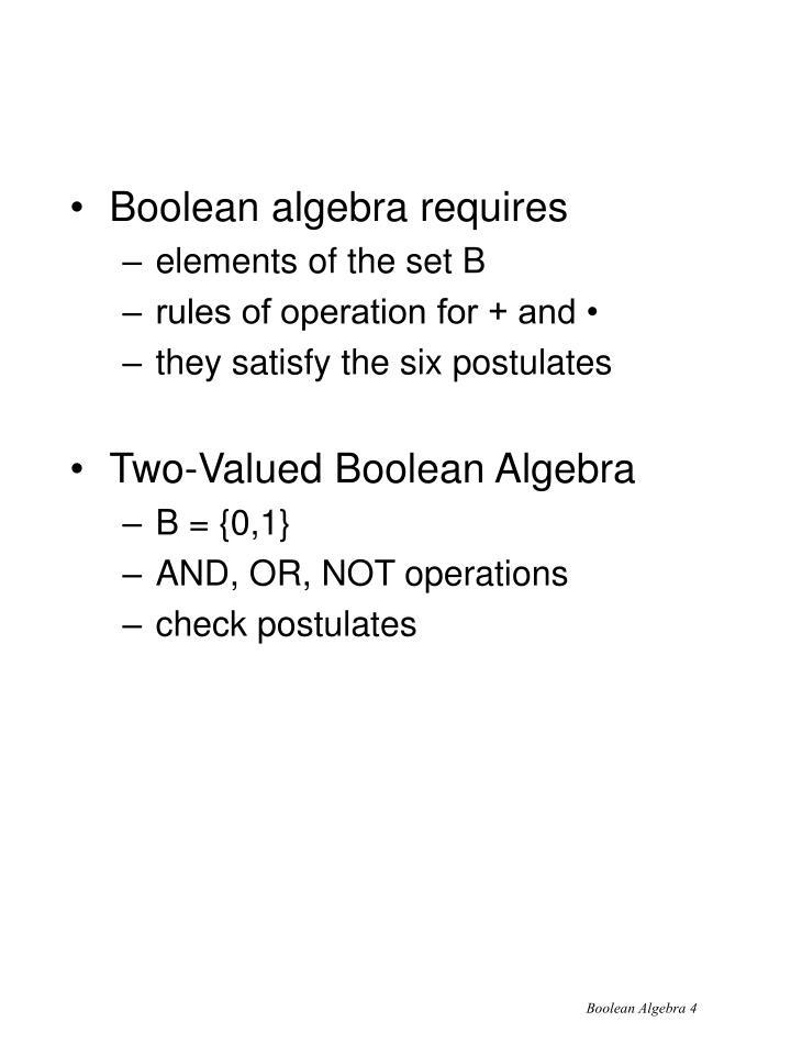 Boolean algebra requires