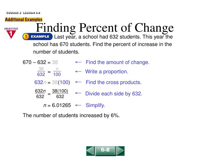 finding percent of change n.