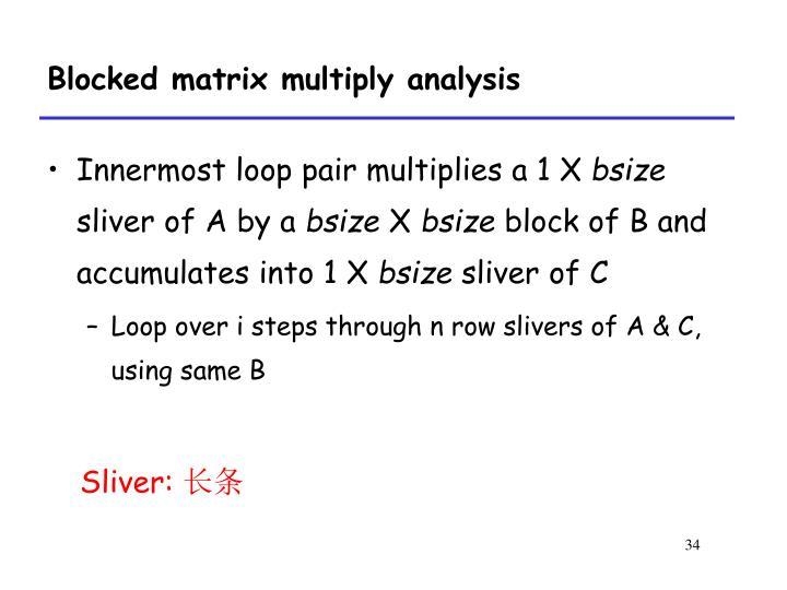 Blocked matrix multiply analysis