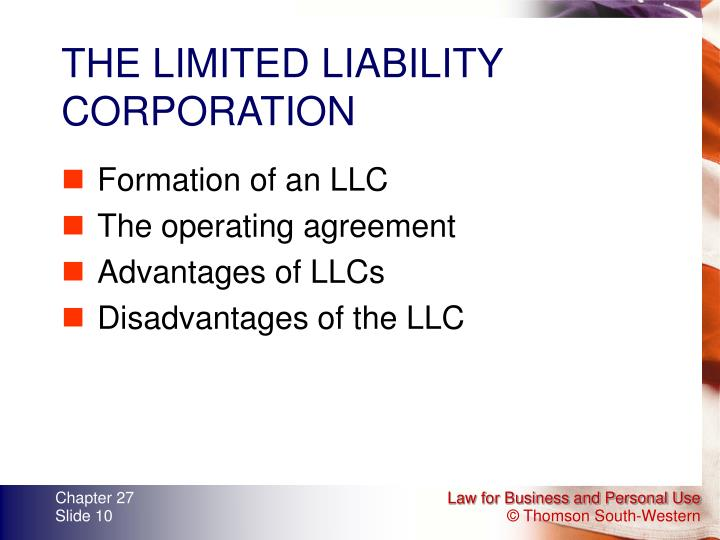 THE LIMITED LIABILITY CORPORATION