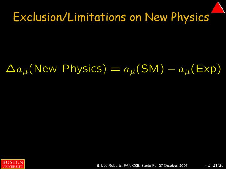 Exclusion/Limitations on New Physics