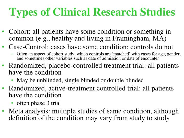 Types of clinical research studies