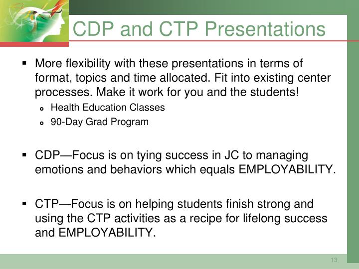 CDP and CTP Presentations