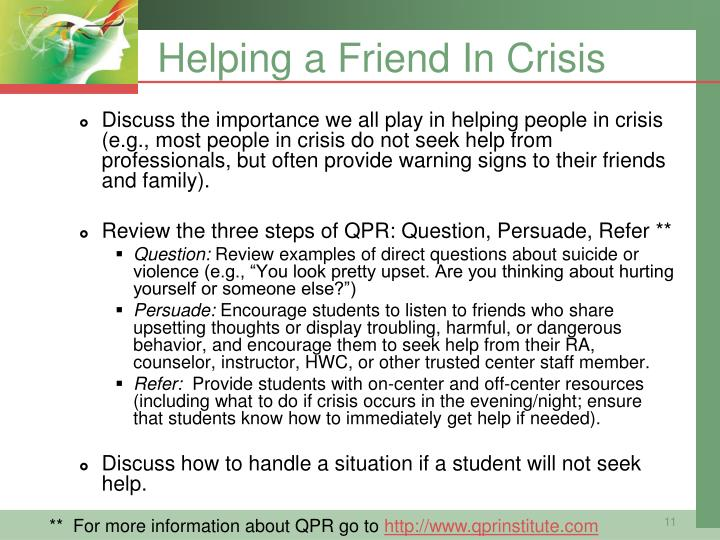 Helping a Friend In Crisis