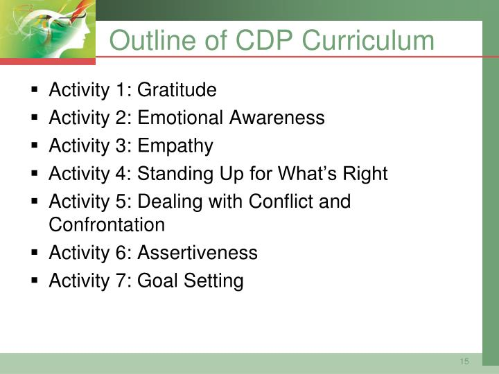 Outline of CDP Curriculum