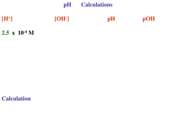 PHCalculations
