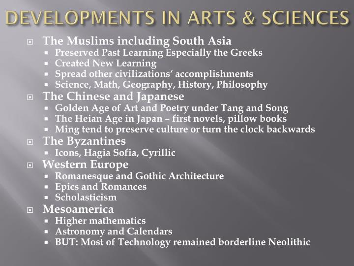 DEVELOPMENTS IN ARTS & SCIENCES