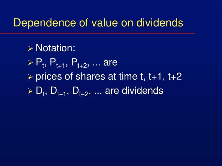 Dependence of value on dividends