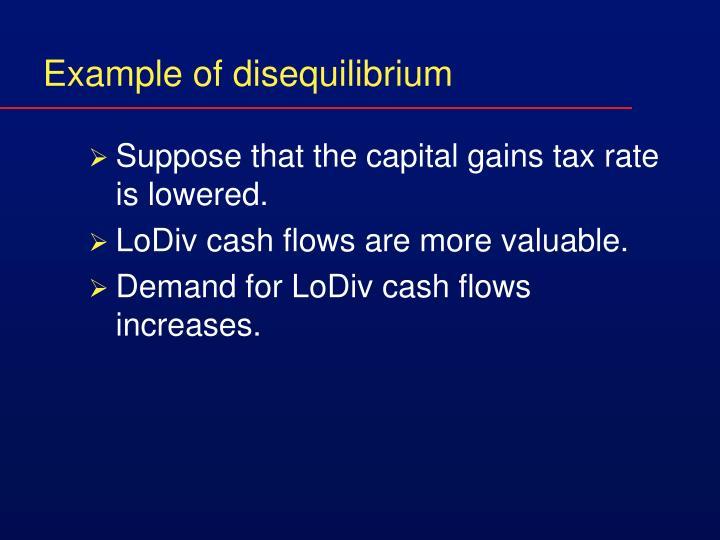 Example of disequilibrium