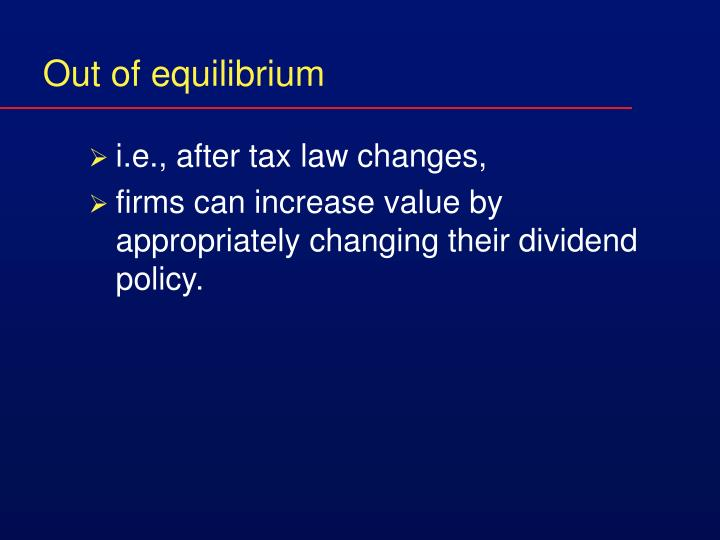 Out of equilibrium