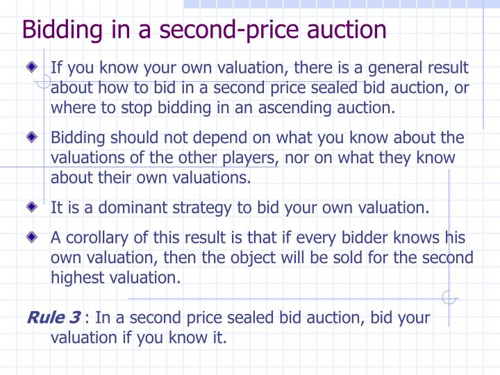 Bidding in a second-price auction