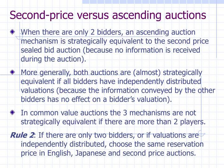 Second-price versus ascending auctions