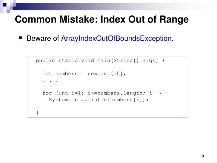 Common Mistake: Index Out of Range