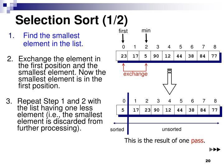 Selection Sort (1/2)