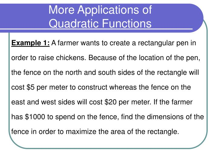More applications of quadratic functions1