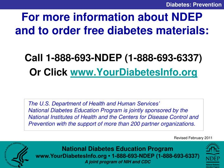 For more information about NDEP and to order free diabetes materials:
