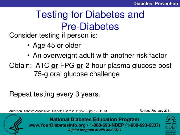 Testing for Diabetes and