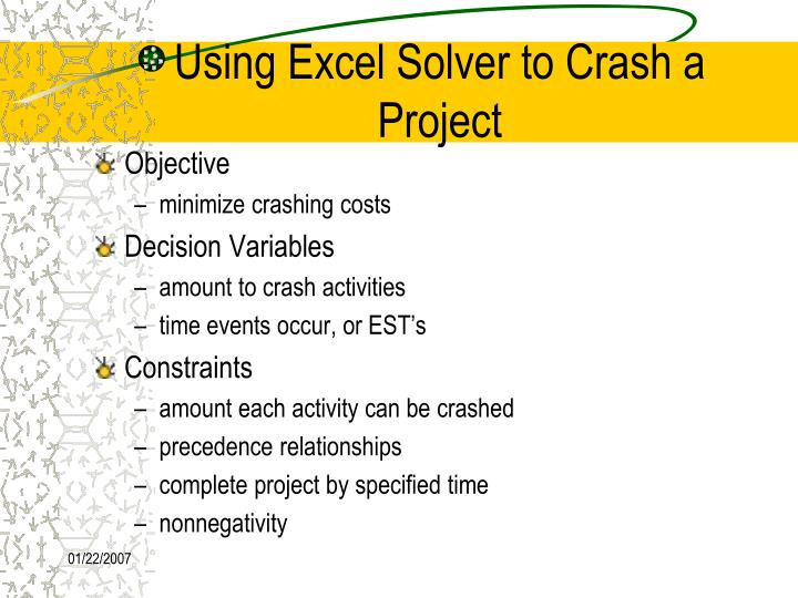 Using Excel Solver to Crash a Project