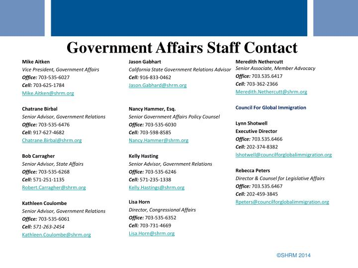 Government Affairs Staff Contact