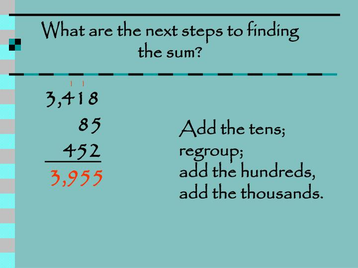 What are the next steps to finding the sum?