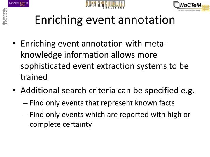 Enriching event annotation