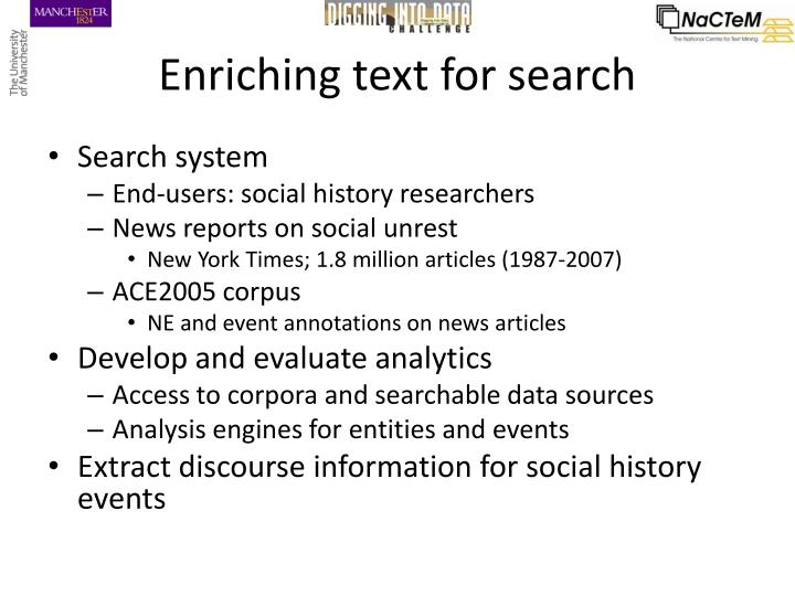 Enriching text for search