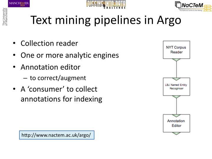 Text mining pipelines in Argo