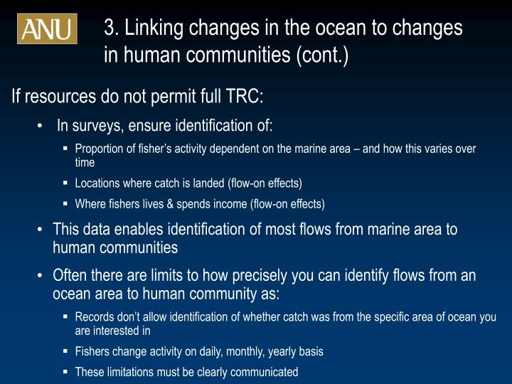 3. Linking changes in the ocean to changes in human communities (cont.)