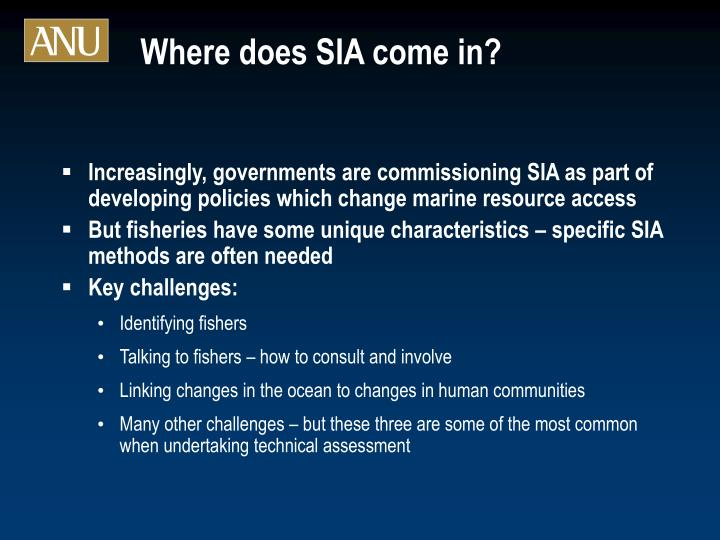 Where does SIA come in?