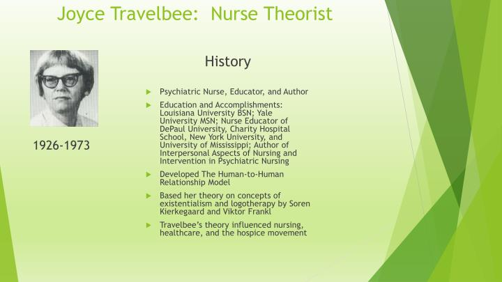Joyce Travelbee Nurse Theorist N on interpersonal relationship