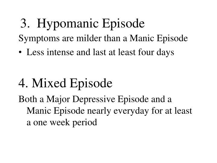 3.  Hypomanic Episode