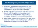 2 establish agreed procurement processes