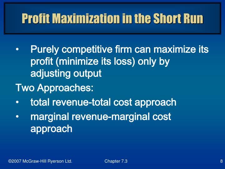 Profit Maximization in the Short Run
