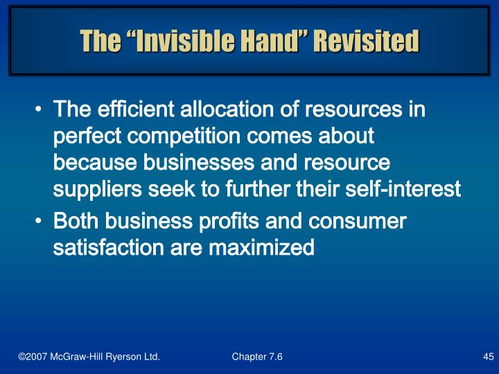 """The """"Invisible Hand"""" Revisited"""