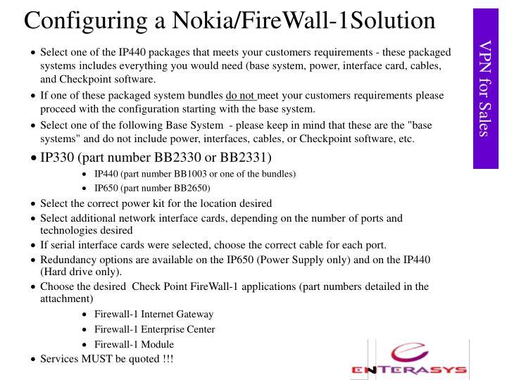 Configuring a Nokia/FireWall-1Solution