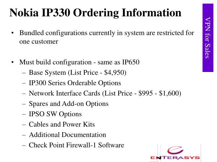 Nokia IP330 Ordering Information