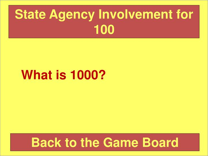 State Agency Involvement for 100