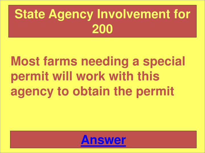 State Agency Involvement for 200