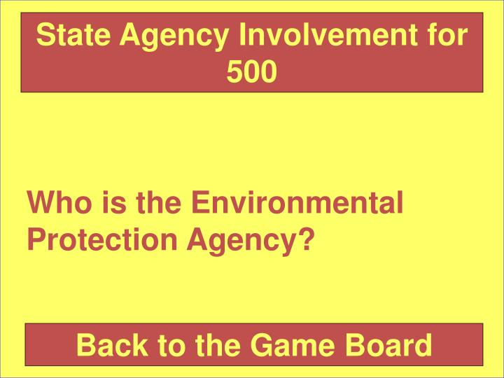 State Agency Involvement for 500