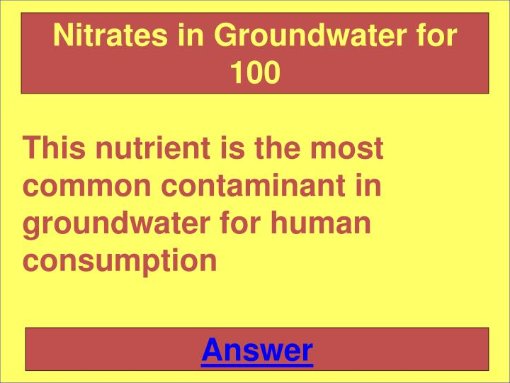 Nitrates in Groundwater for 100