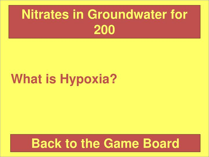 Nitrates in Groundwater for 200