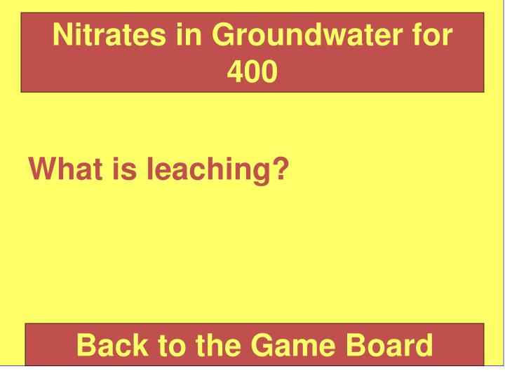 Nitrates in Groundwater for 400