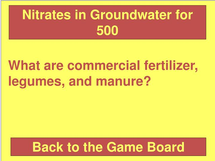 Nitrates in Groundwater for 500