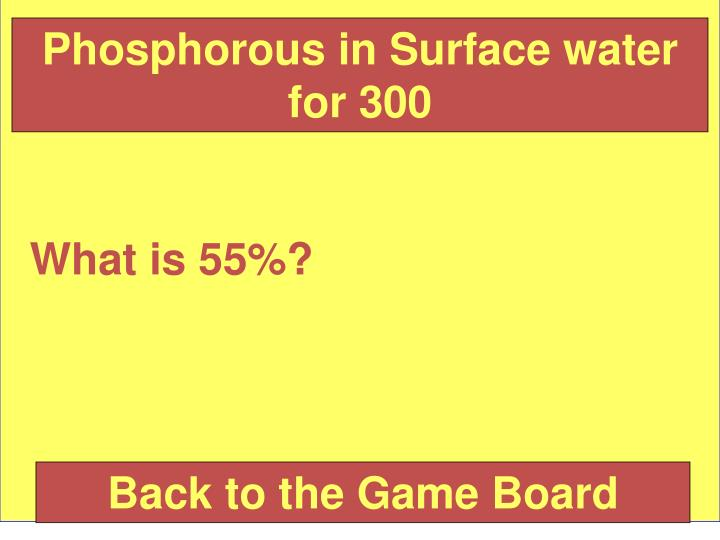 Phosphorous in Surface water for 300