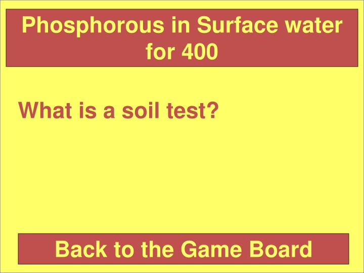 Phosphorous in Surface water for 400